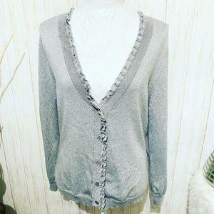 New York & Company Silver Metallic Cardigan XL